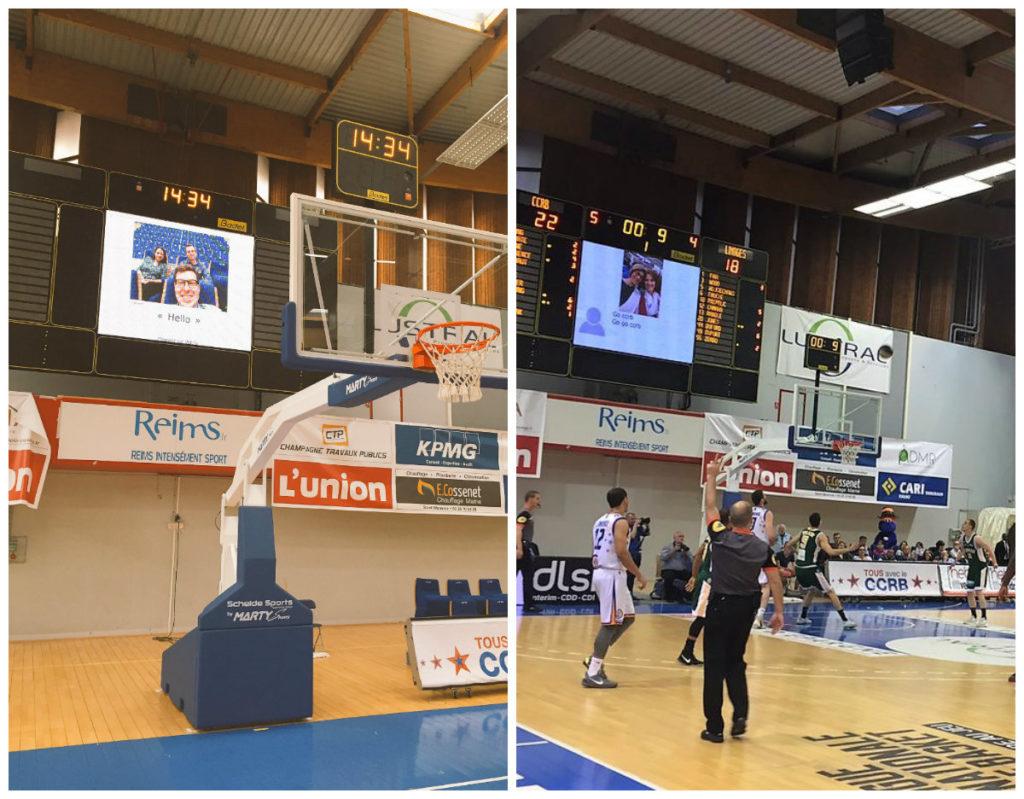 With Your Fans sur les écrans géants lors du dernier match CCRB contre CSP Limoge