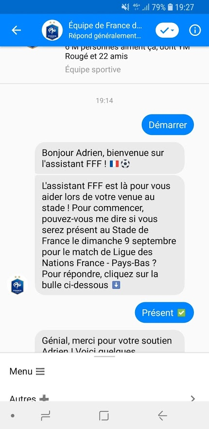 Chatbot de l'Equipe de France