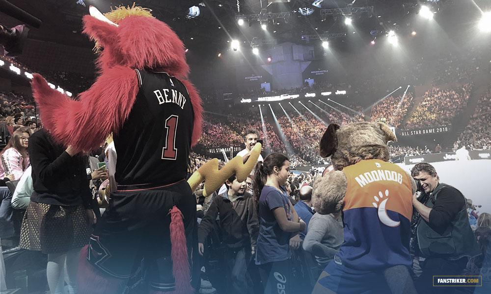 Les mascottes de la NBA, Benny the Bull, Grizz et Franklin, mascottes de Chicago Bulls, Memphis et Philadelphie