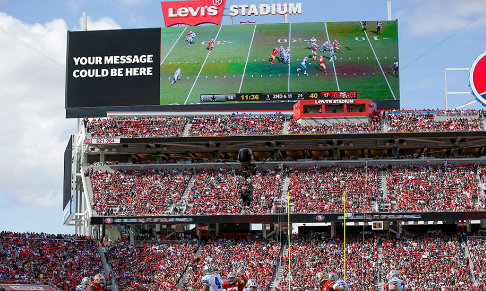 18 messages par match peuvent être partagés sur les écrans du Levi's Stadium