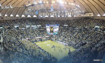 Le WVU Coliseum lors d'un match de basketball universitaire NCAA