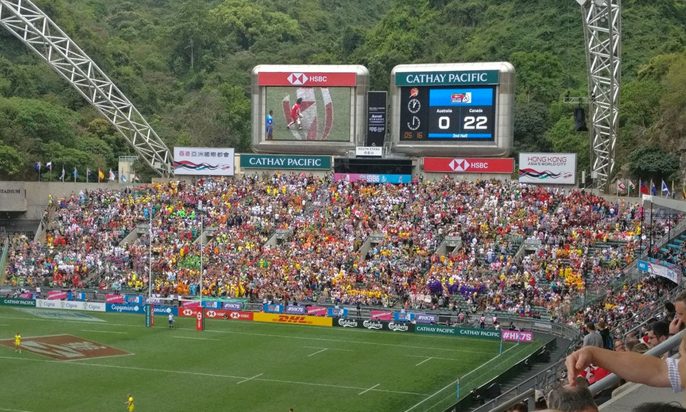La tribune south stand à Hong Kong pour le HSBC Hong Kong Sevens