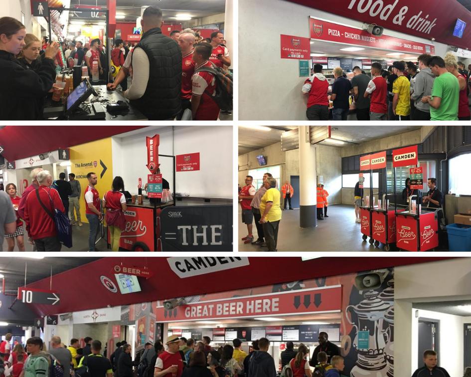 Les stands de boissons et de nourritures dans les coursives de l'Emirates Stadium