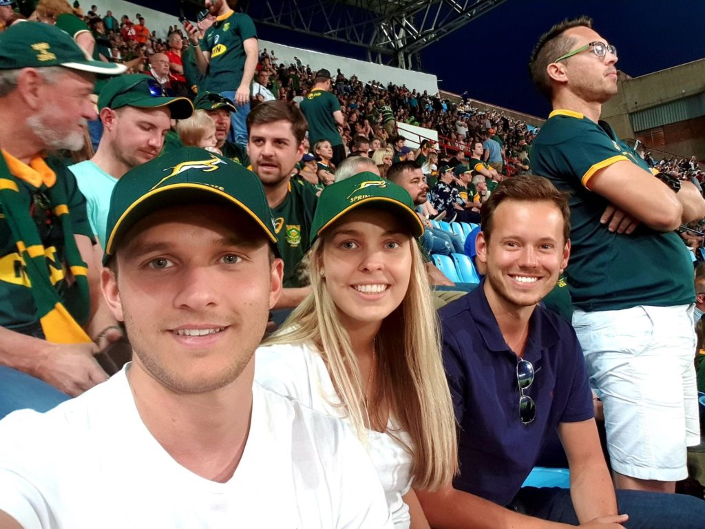 Un selfie typique dans les tribunes avec les supporters des Springboks