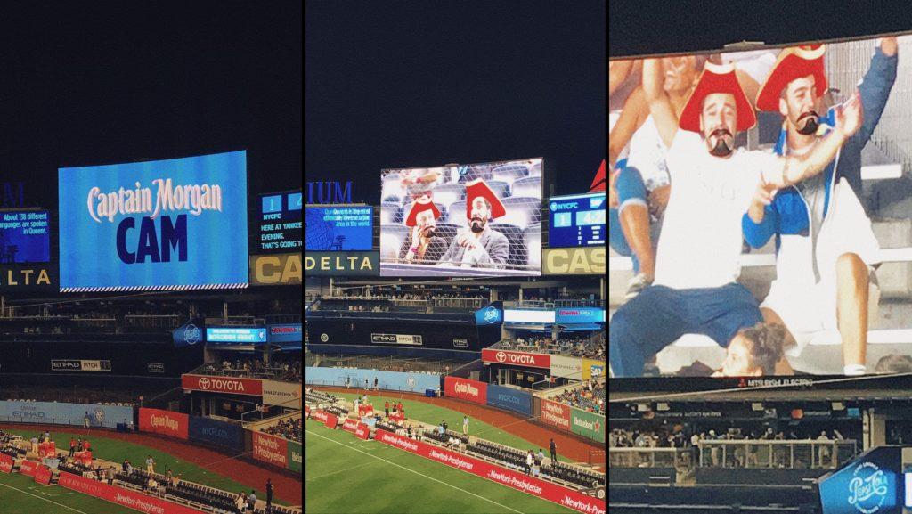 Une animation Captain Morgan Cam avec des filtres pour les supporters sur l'écran géant