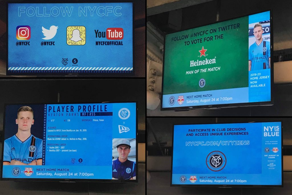 Les écrans du stade affichent plusieurs infos ou jeux d'interactions à destination des fans