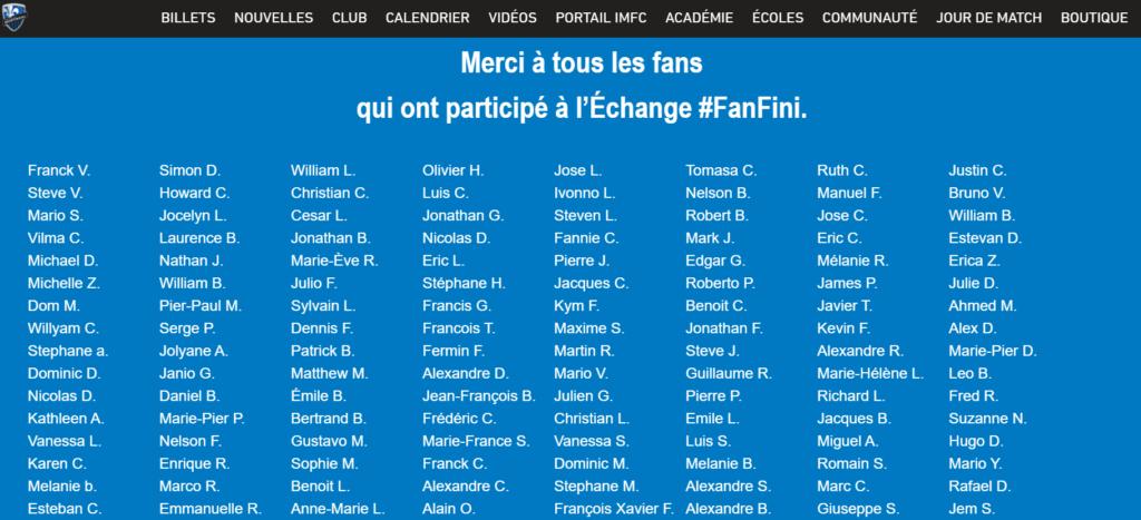 Message de remerciement pour les fans #FanFini