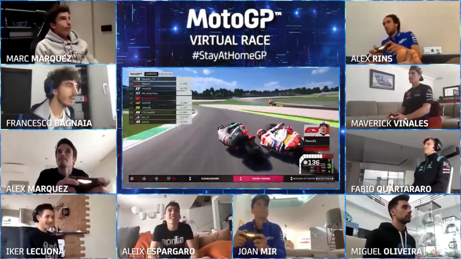 Des pilotes jouant au Moto GP virtuel pendant le confinement
