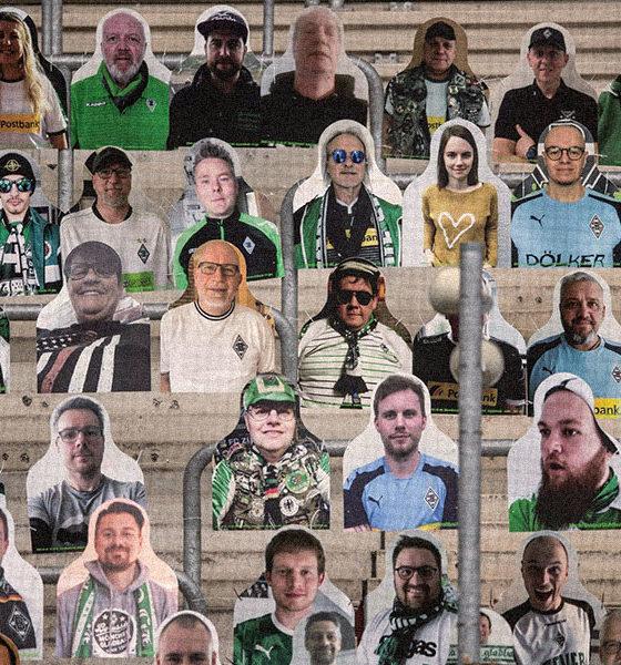 Des fans en carton dans les tribunes du Borussia Mönchengladbach