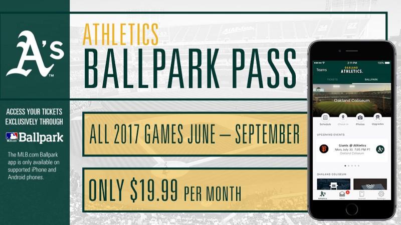 A's Ballpark Pass 2017
