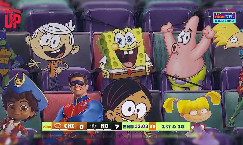 Les personnages de Nickelodeon dans les tribunes du Mercedes-Benz Superdome