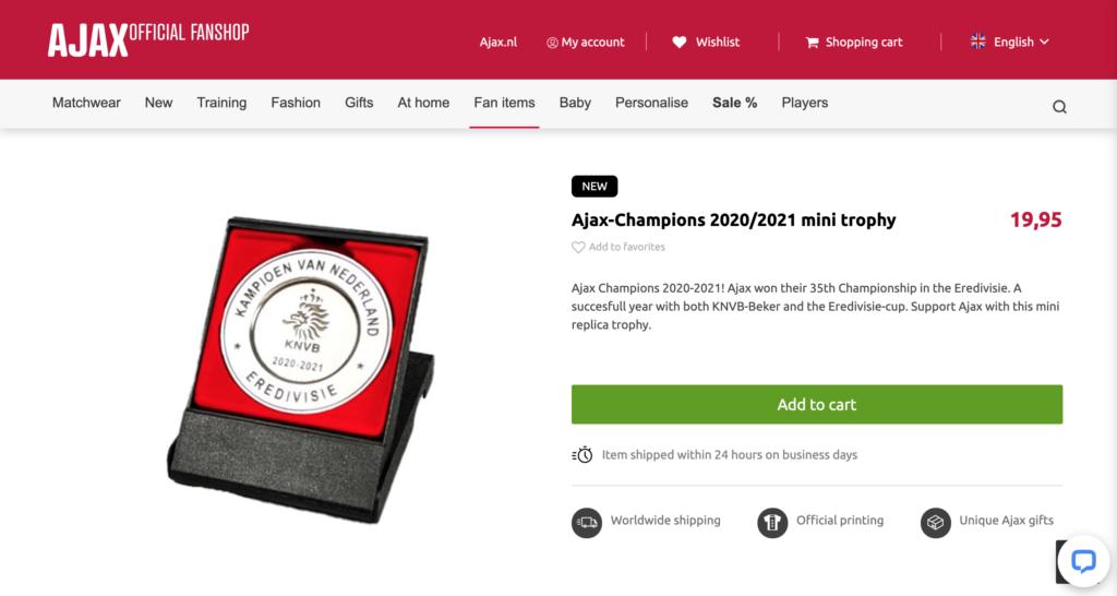 Les fans peuvent acheter une mini réplique du trophée de Champions sur le site du club au prix de 19,95€