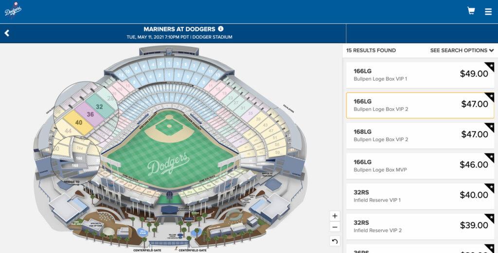 """La billetterie en ligne pour la section """"full vaccinated fans"""" au Dodgers Stadium"""