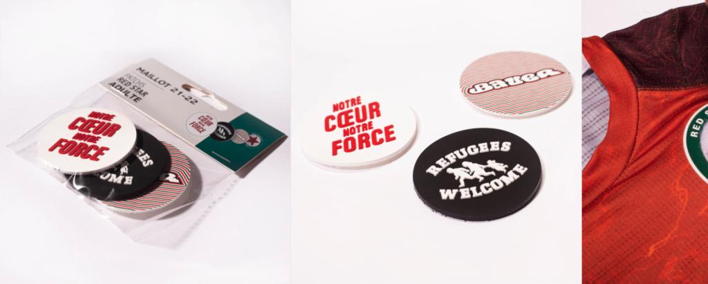Quelques badges en vente sur le site du Red Star FC